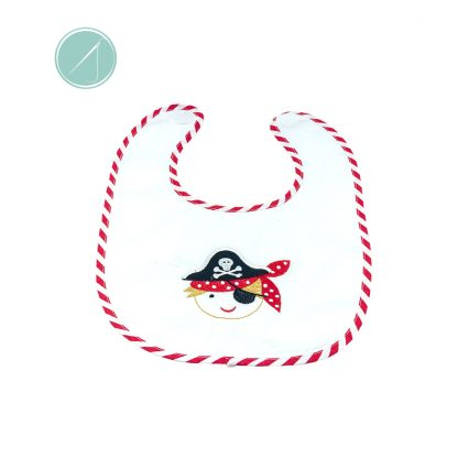 Cotton Pirate applique feeding bib can be personalised. Mess free feeding time