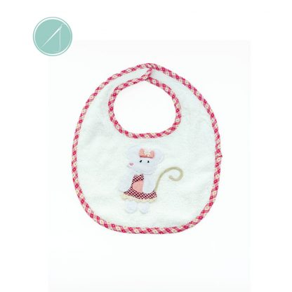 Velcro fastening terry towel bib with cute mouse applique.