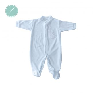 White Velour sleep suit with mouse in a tea cup applique