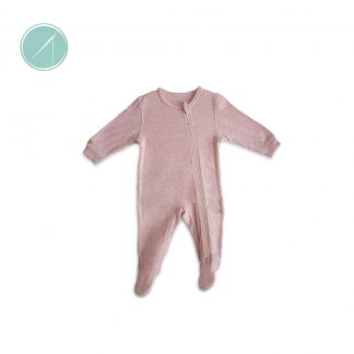 Juddlies-100%-Cotton-Baby-Girl's-Pink-Fleck-Asymmetrical-Zipper-sleeper