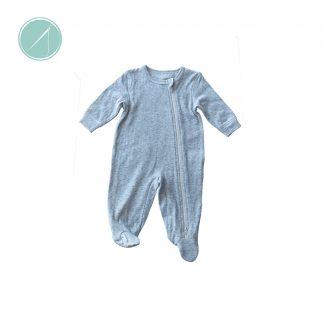 Grey fleck sleeper with zip front from Juddlies