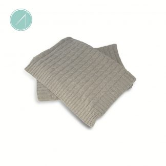 Soft grey cable knit baby blanket