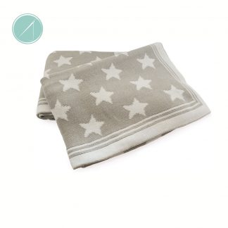 Grey and white star baby blanket, tots on fifth