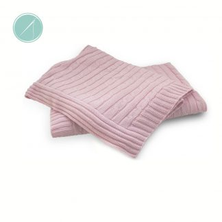 Tot on Fifth personalized Pink Cable Knit baby blanket