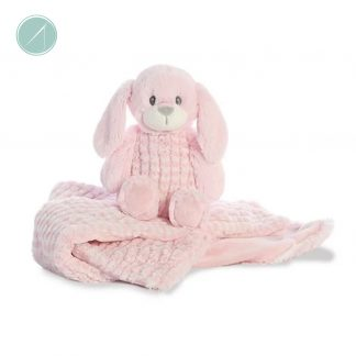 "Little Pitter Pattern - Bunny Rattle 8.5"" & Swaddle 18"" - Ebba"