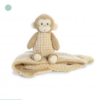 "Little Pitter Pattern - Monkey Rattle 8.5"" & Swaddle Blanket 18"" - EBBA"