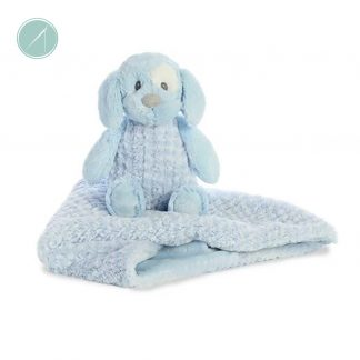 "Little Pitter Pattern - Pup Rattle 8.5"" & Swaddle 18"""